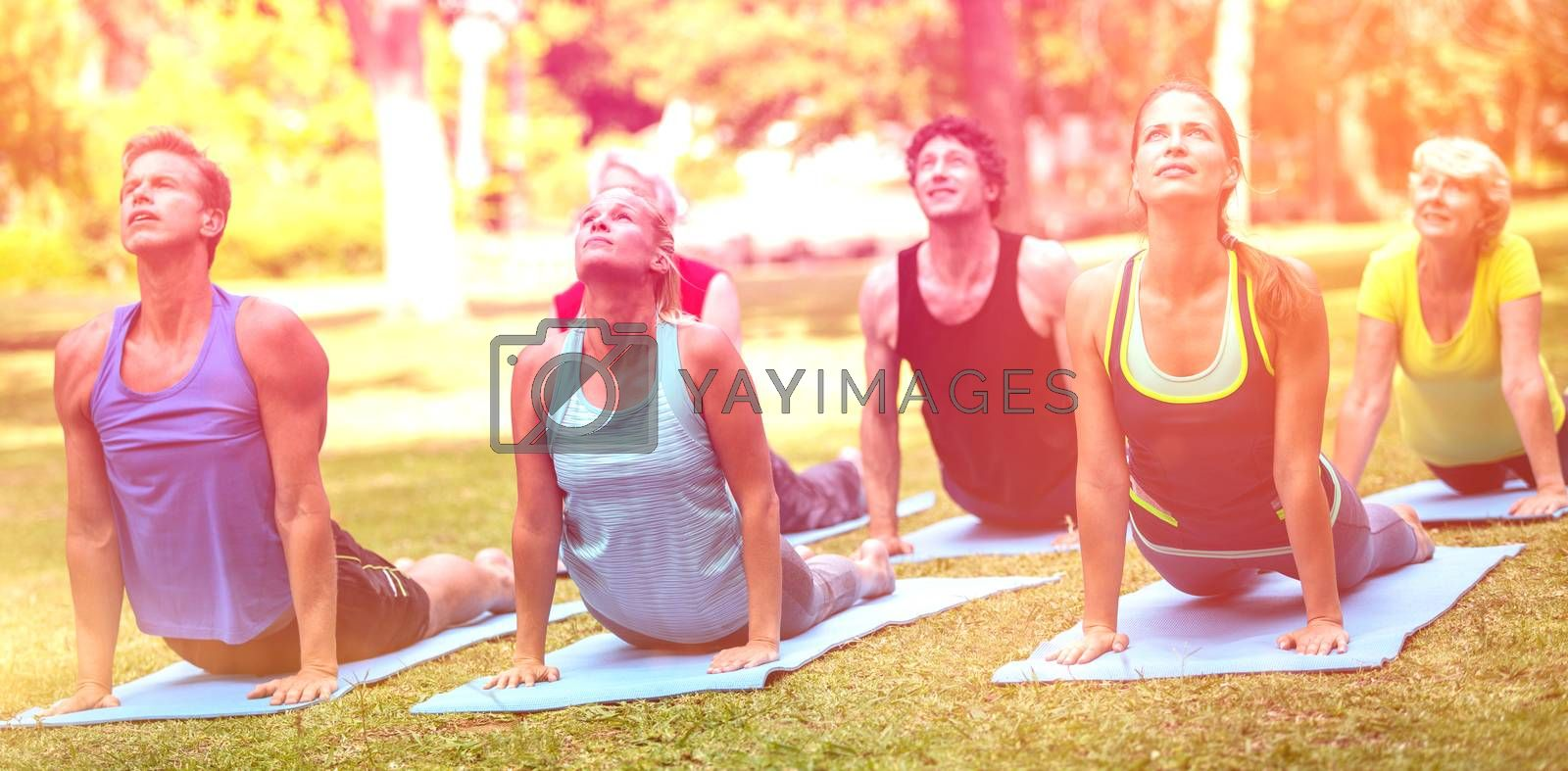 Fitness class practicing yoga in park