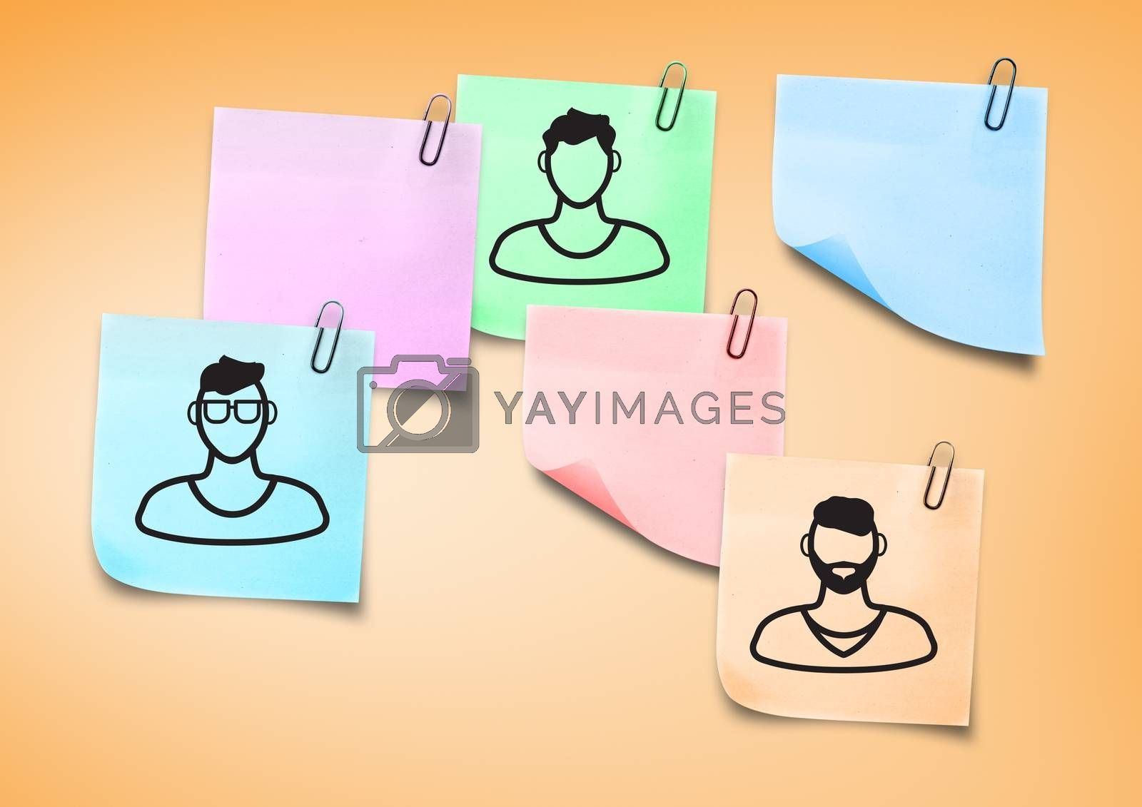 Composite image of Sticky Note People men icons by Wavebreakmedia
