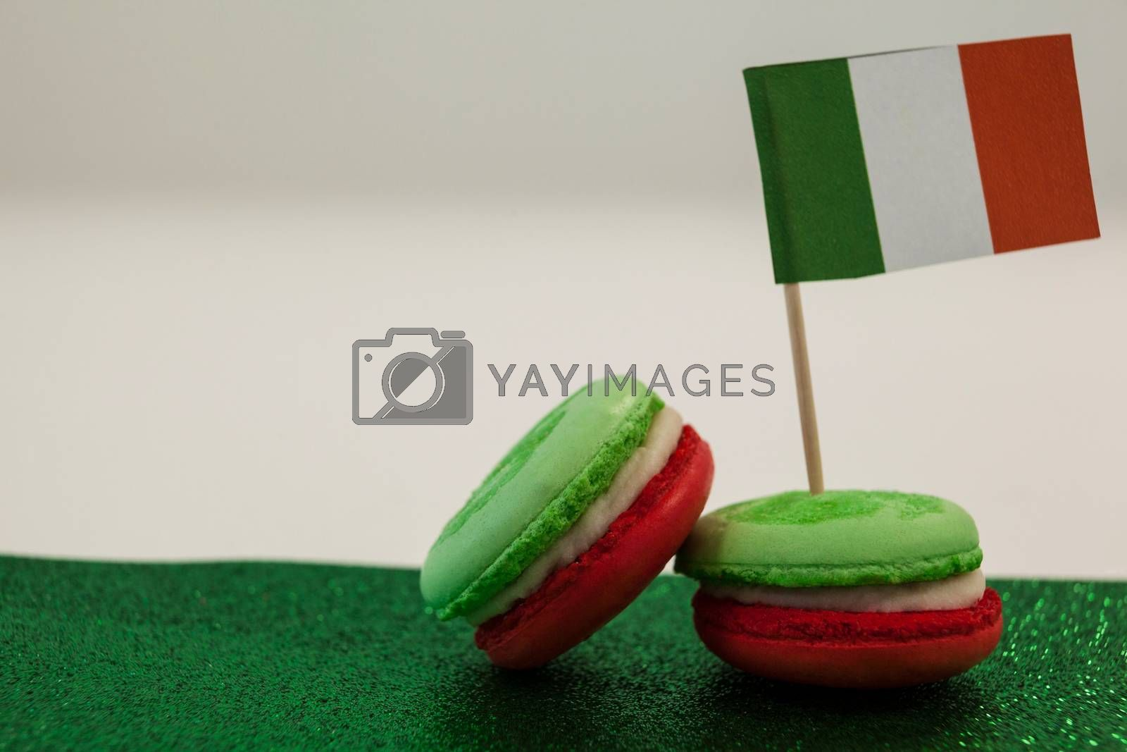 St. Patricks Day three cookies with irish flag against white background