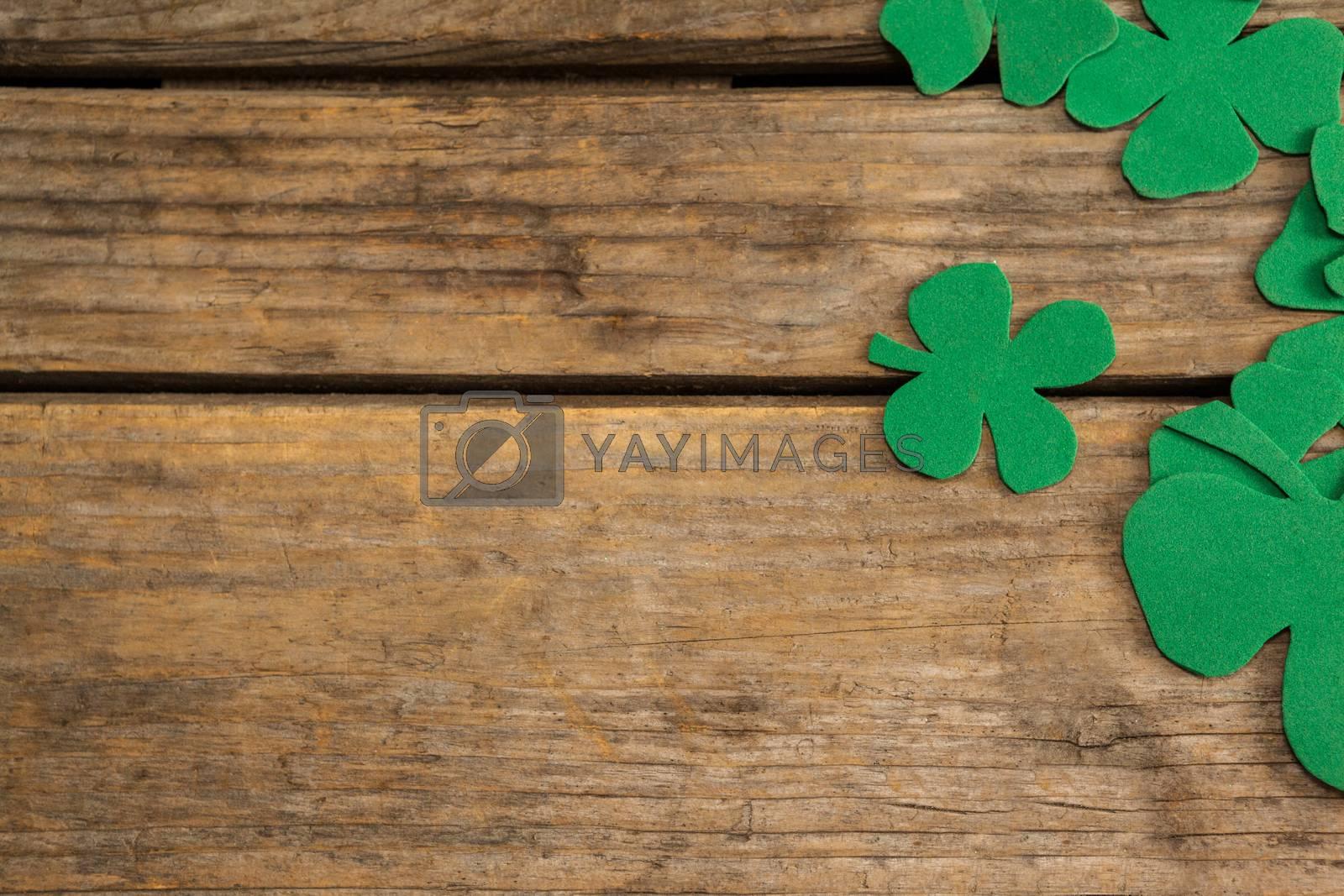 St. Patricks Day shamrocks on wooden table