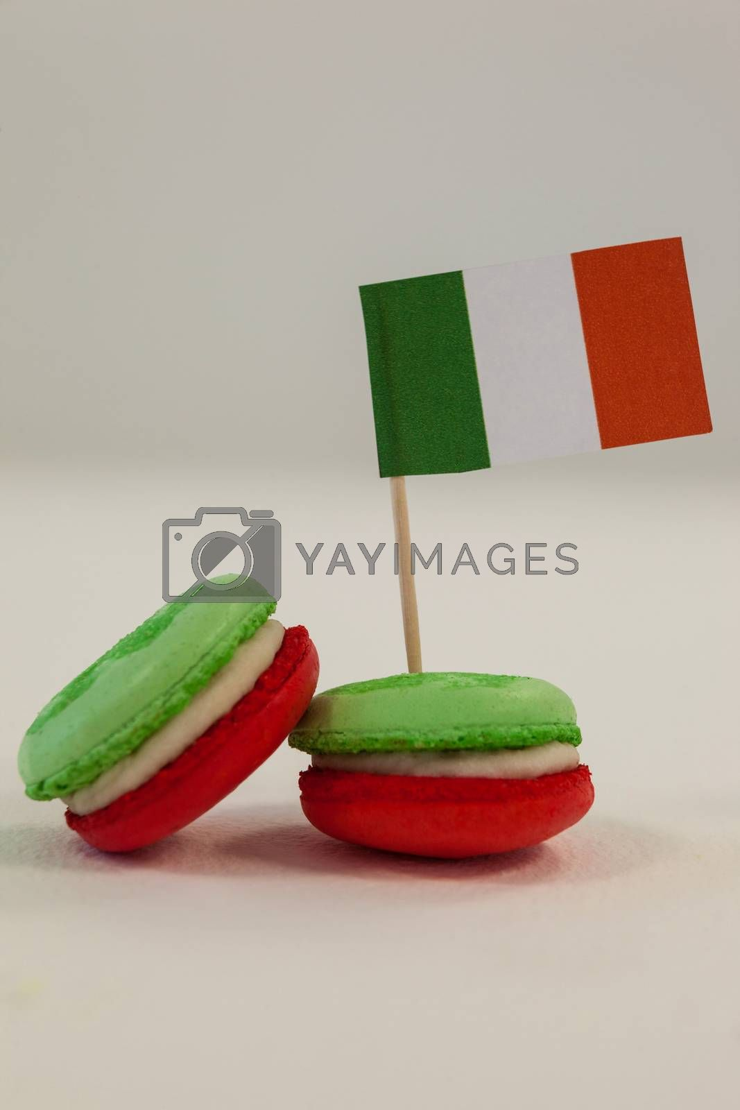 St. Patricks Day three cookies with irish flag on white background