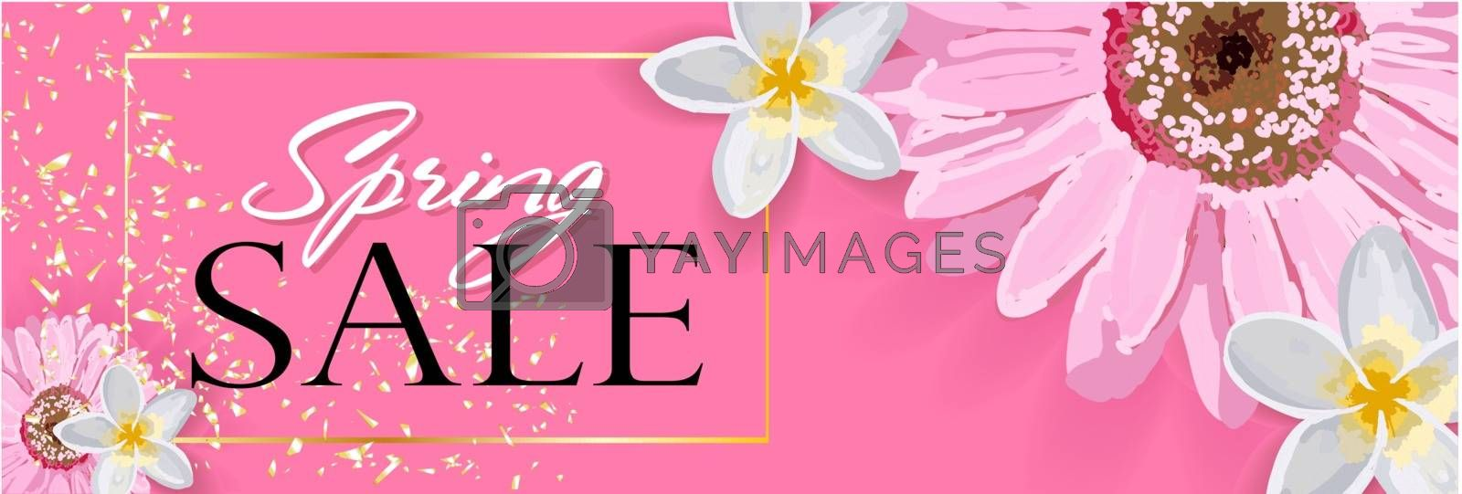 Spring sale background with a beautiful colorful flower.