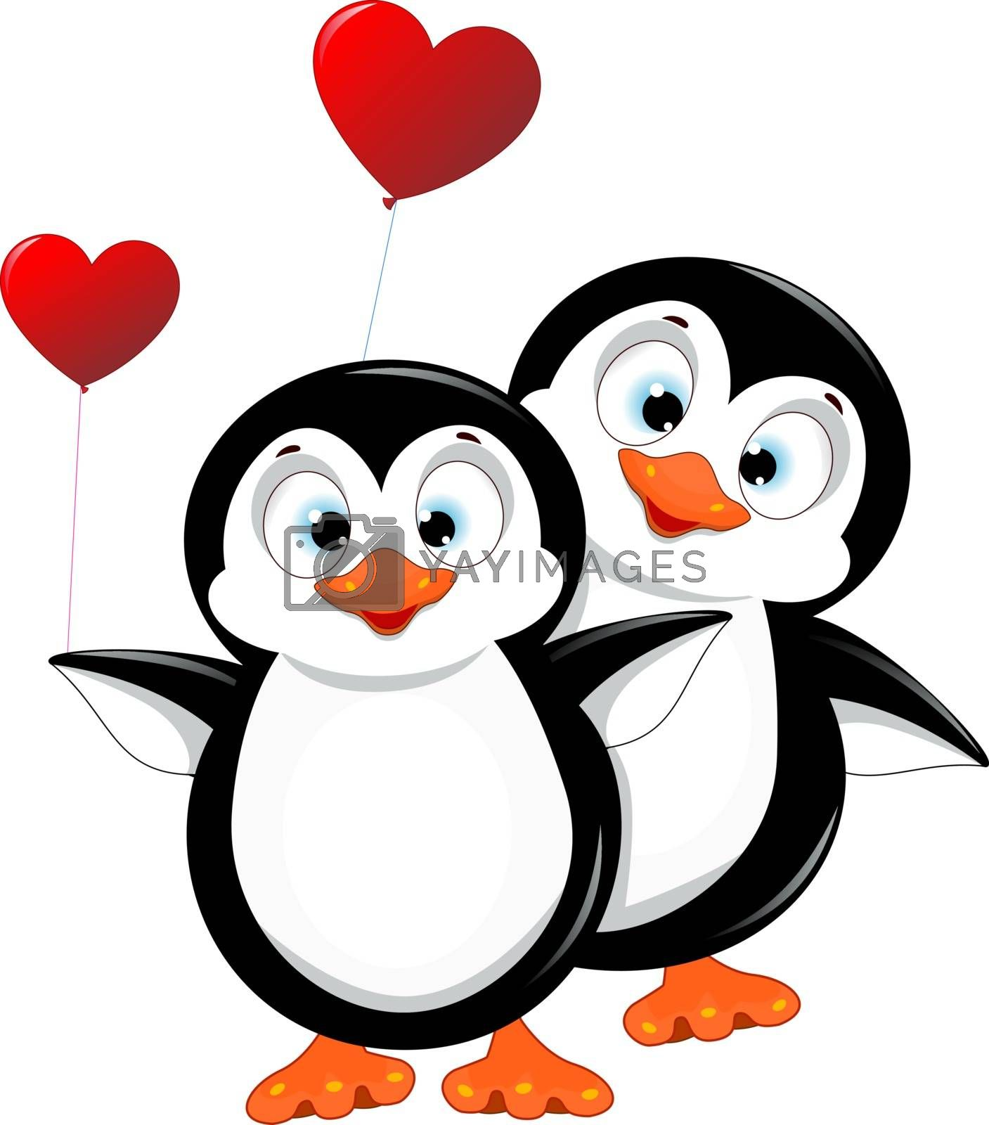 Two penguins with heart shaped balloons. Penguins on a white background. Little penguins.