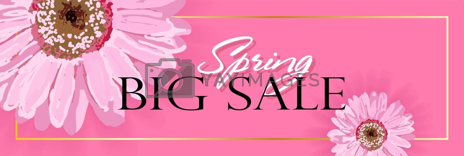 Spring banner with realistic flowers on a pink background. Vector illustration. The banner is ideal for promotions, magazines, advertising, websites.