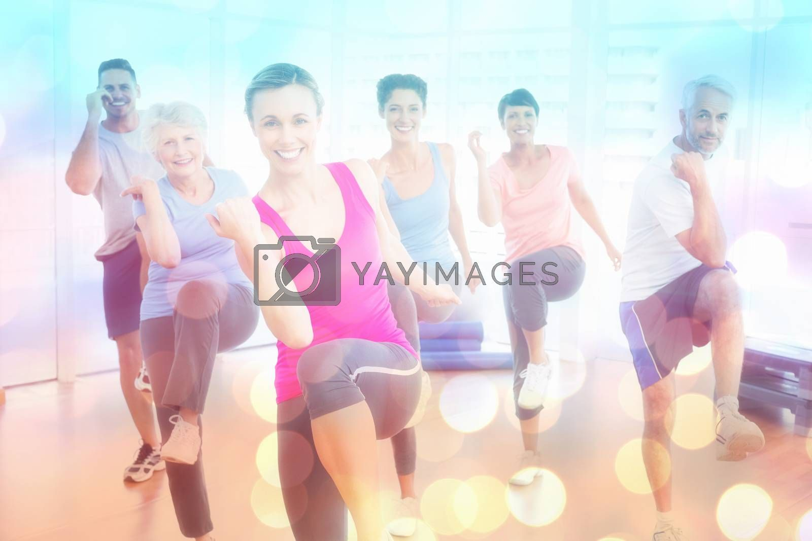 Smiling people doing power fitness exercise at yoga class against abstract background