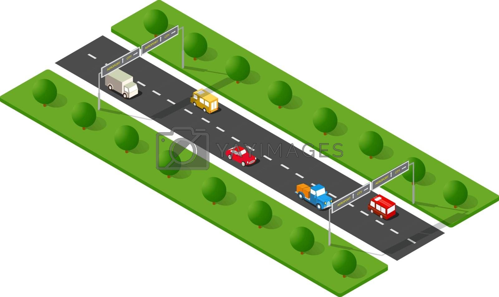 Transport urban road with trees. Isometric view from above on a city transport