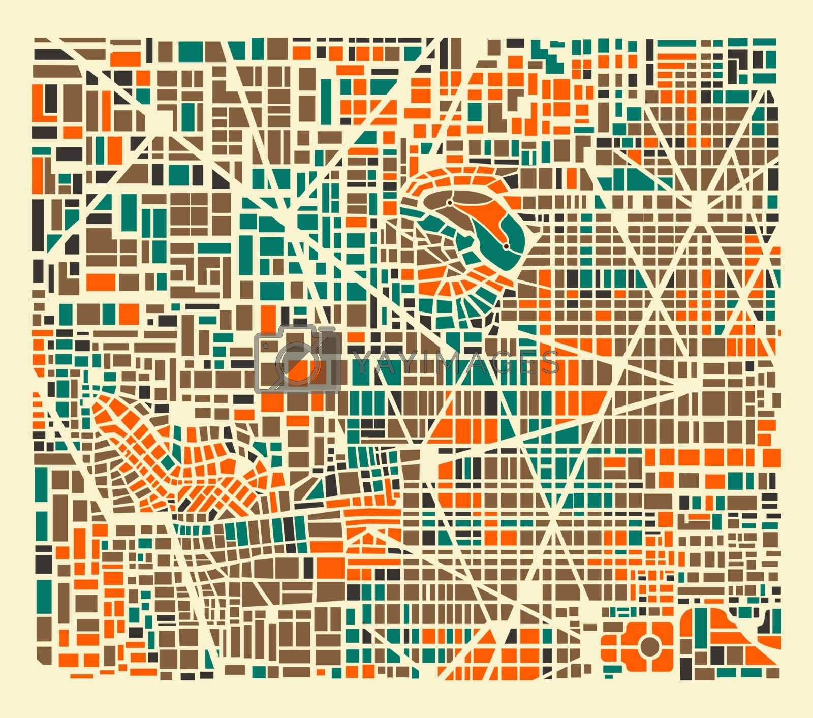 Background city map pattern repeating urban streets, houses and buildings