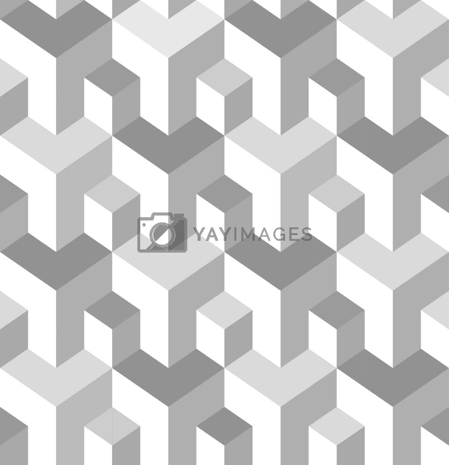 Vector seamless pattern. Modern stylish texture. Repeating geometric tiles with isometric elements