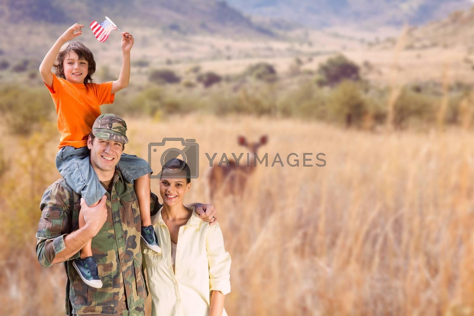 Digital composite of family in wild