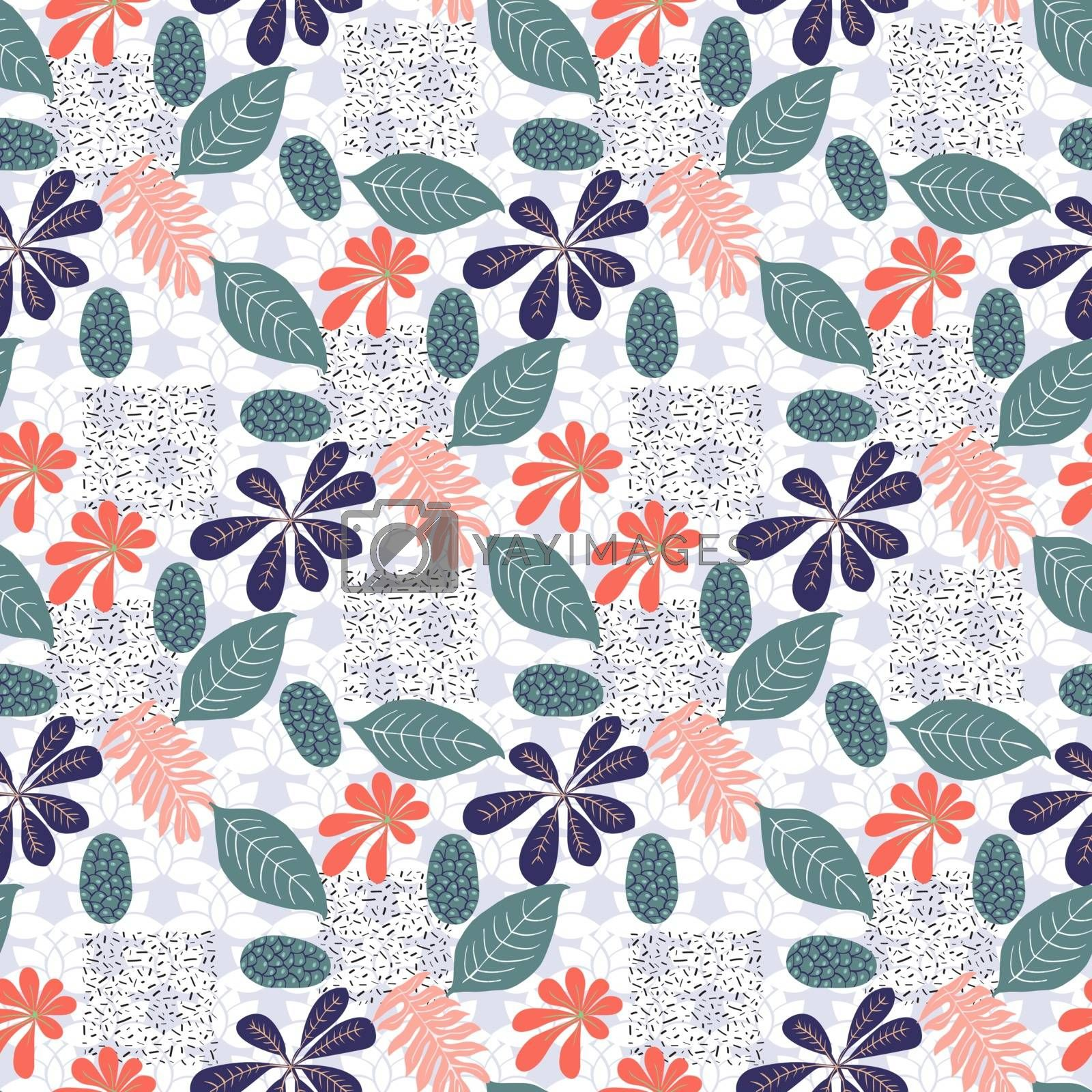 Trendy seamless exotic pattern with foliage. Modern abstract design for paper, wallpaper, cover, fabric, Interior decor. Vector abstract botanical illustration.