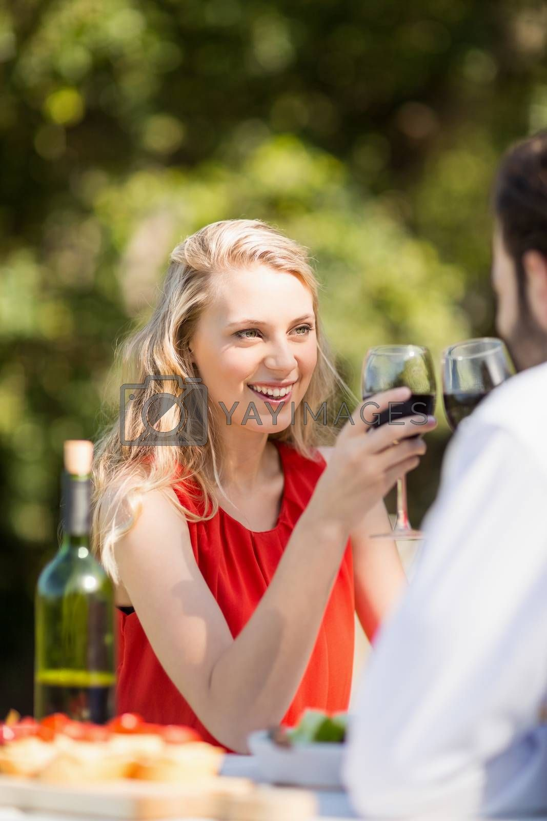 Couple toasting wine glasses while sitting in the restaurant