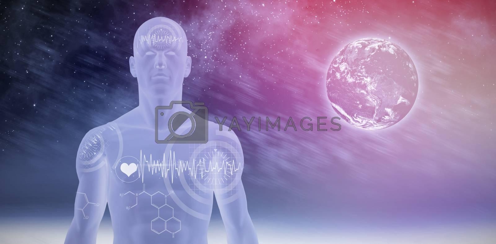 interface against aurora night sky in blue