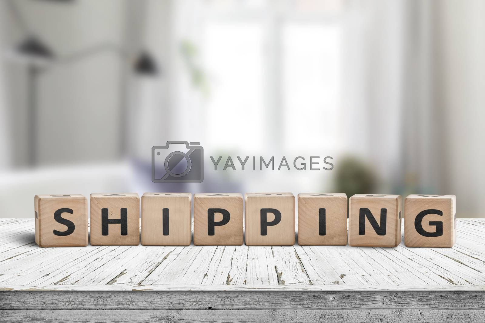 Shipping sign on a wooden desk in a bright living room with daylight