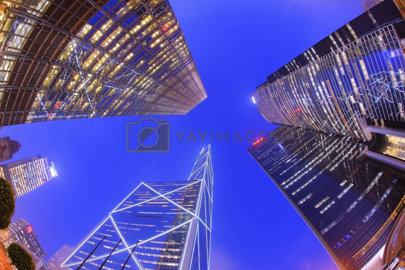 Fisheye view of the Financial district at dusk. Central Hong Kong. Asia. China.