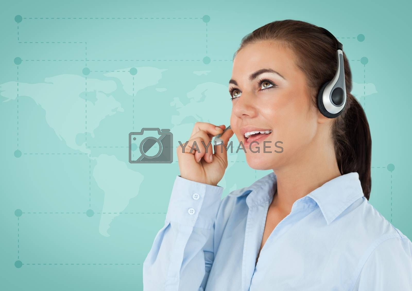 Digital composite of Travel agent with headset against green map