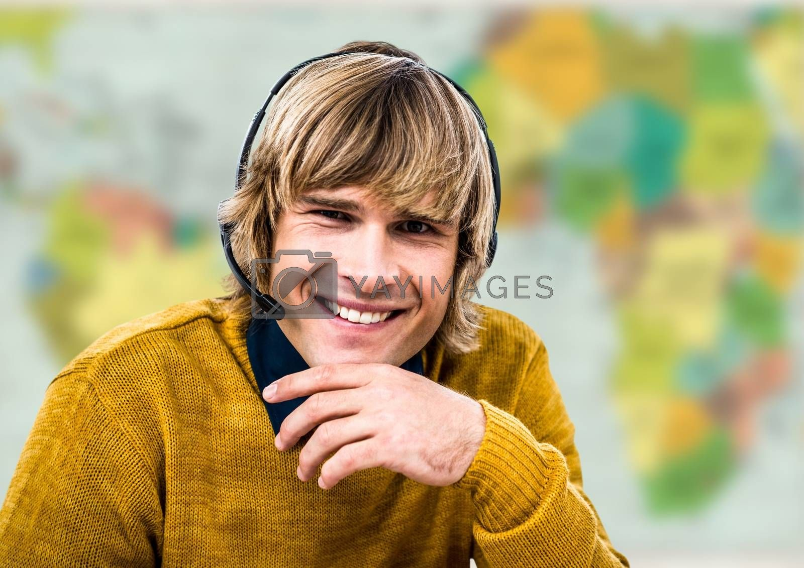 Digital composite of Travel agent in headset against blurry map