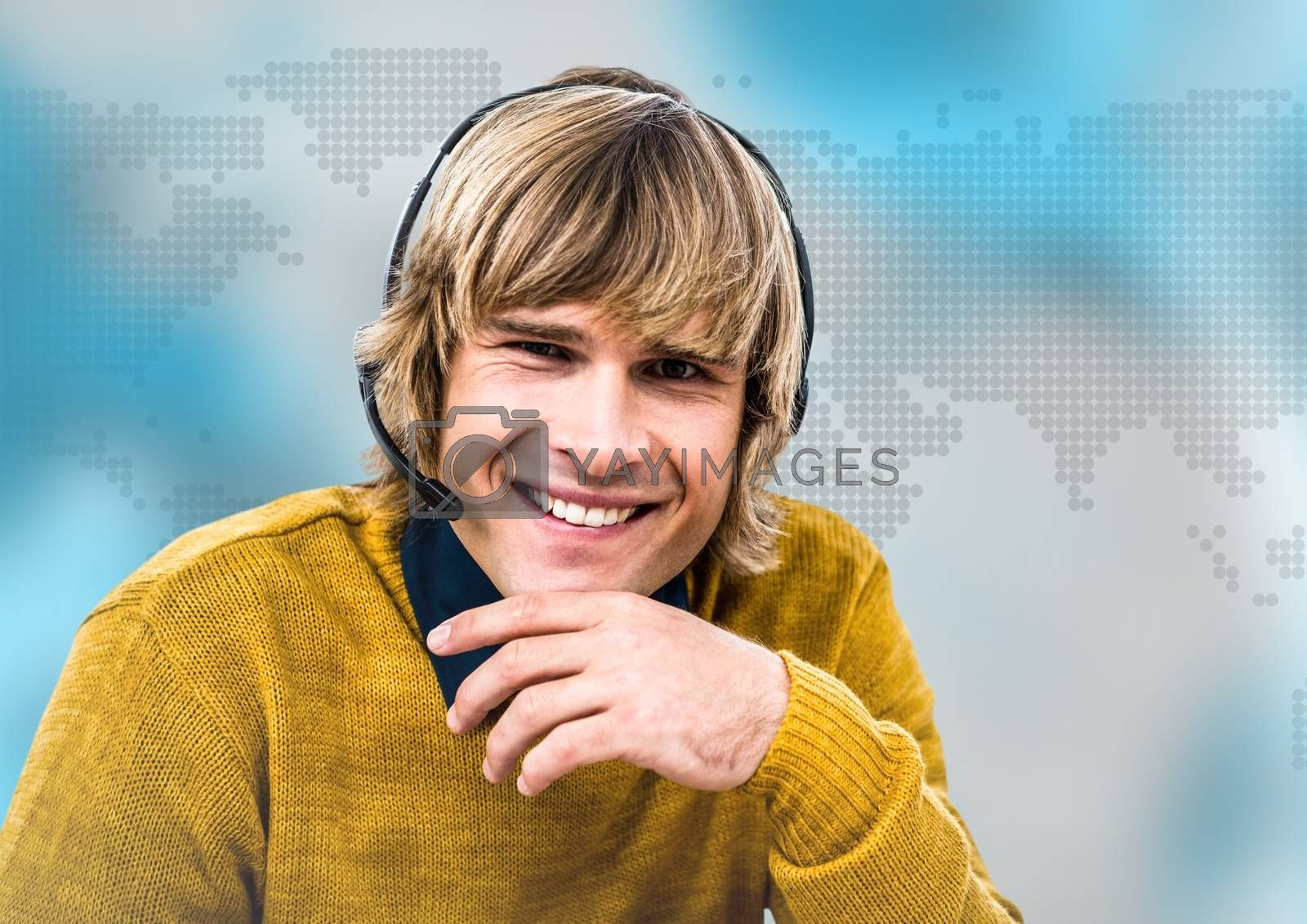 Digital composite of Travel agent in headset against blue map