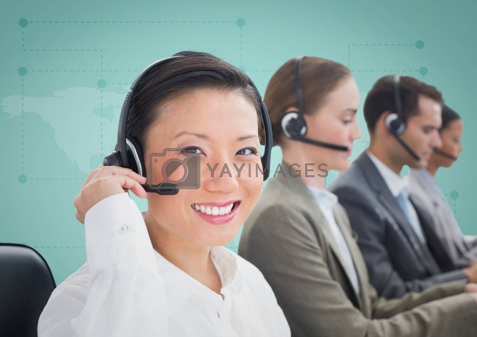 Digital composite of Travel agents with headsets against green map