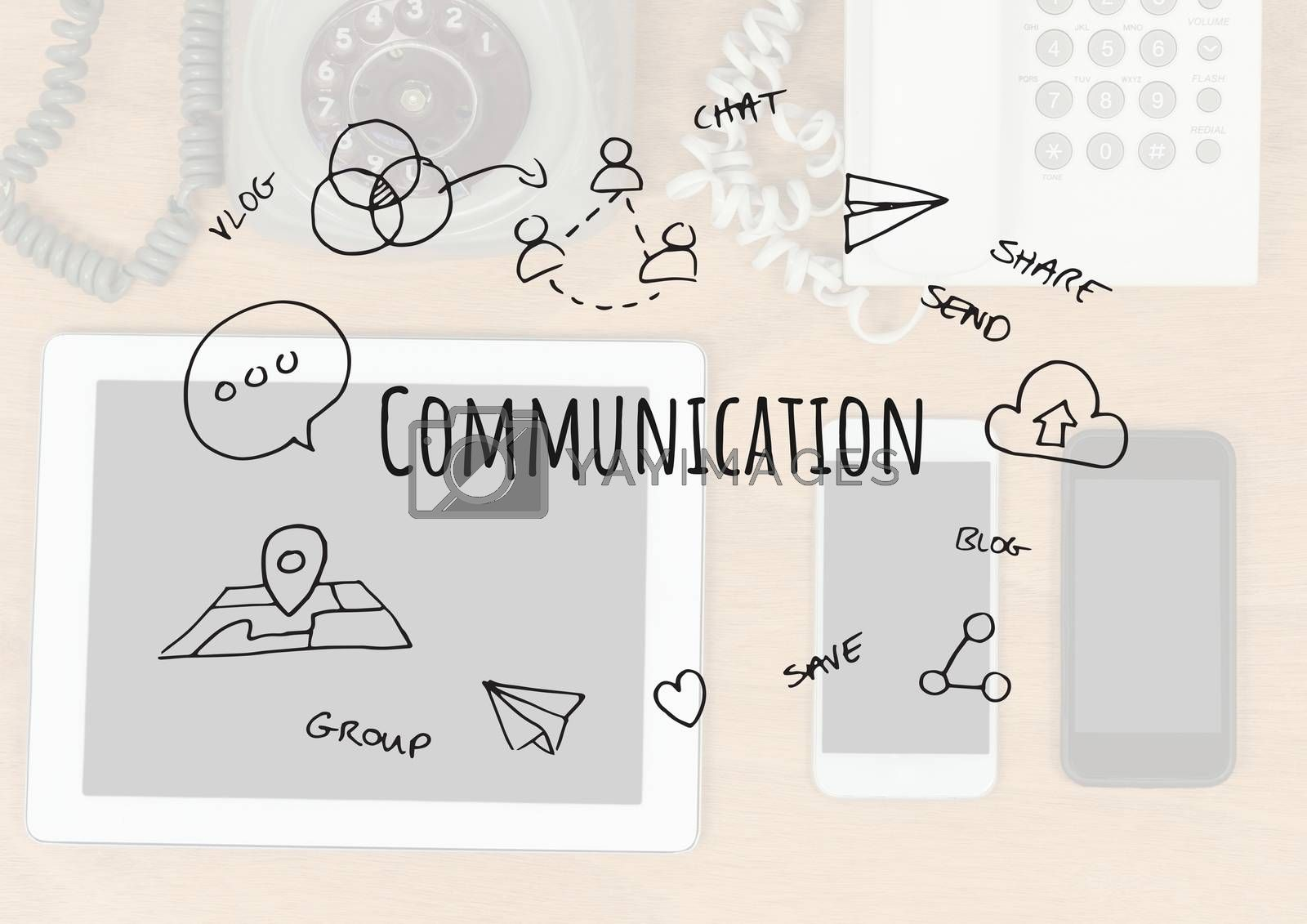 Digital composite of Communication text with drawings graphics