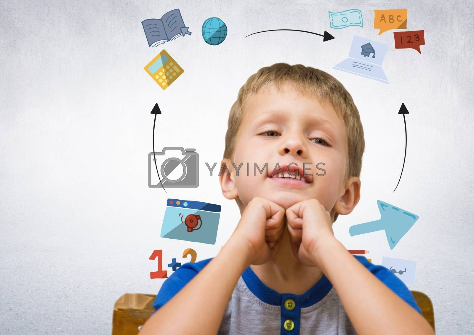 Digital composite of Boy with education graphic drawings