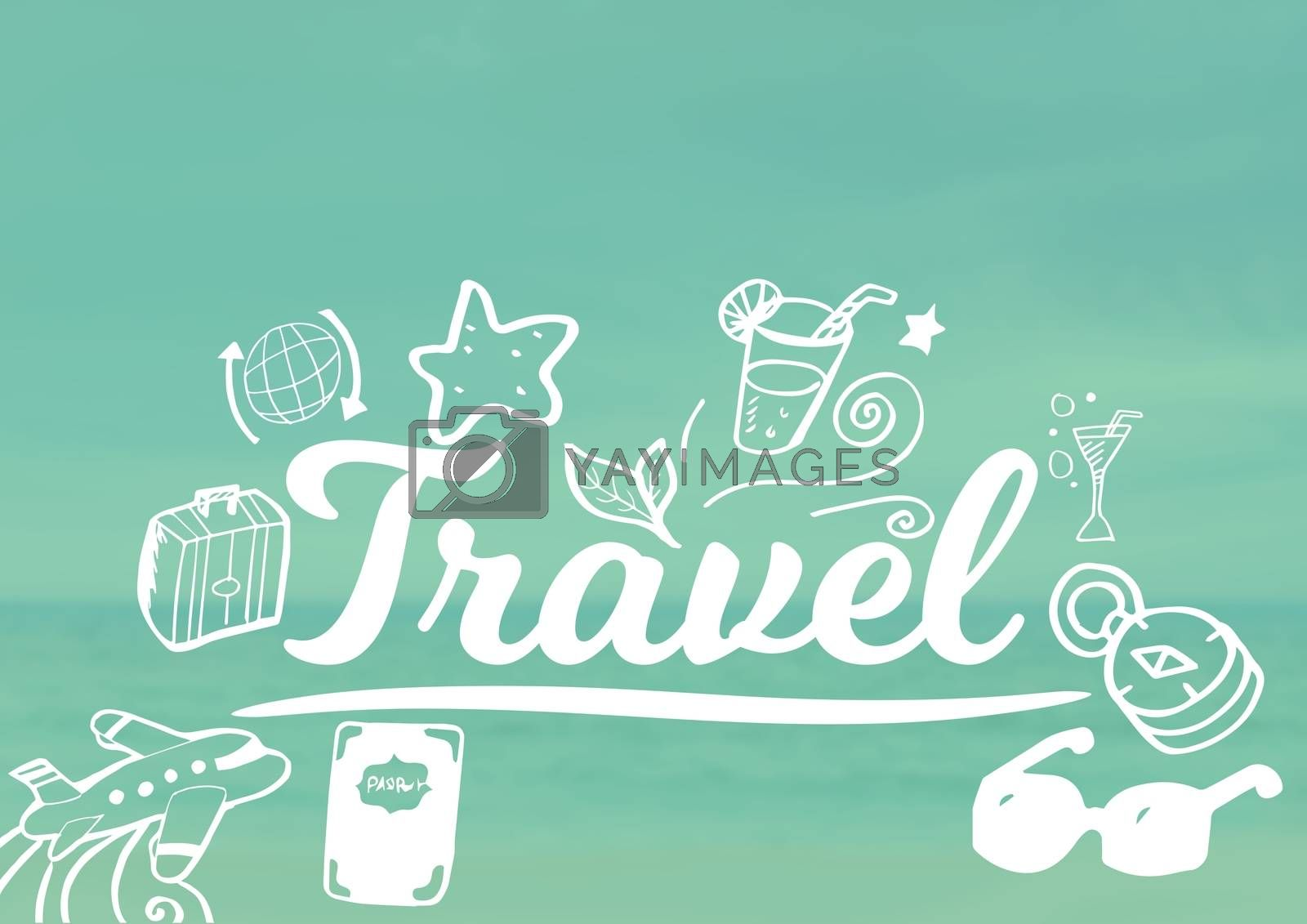 Digital composite of Travel text with drawings graphics