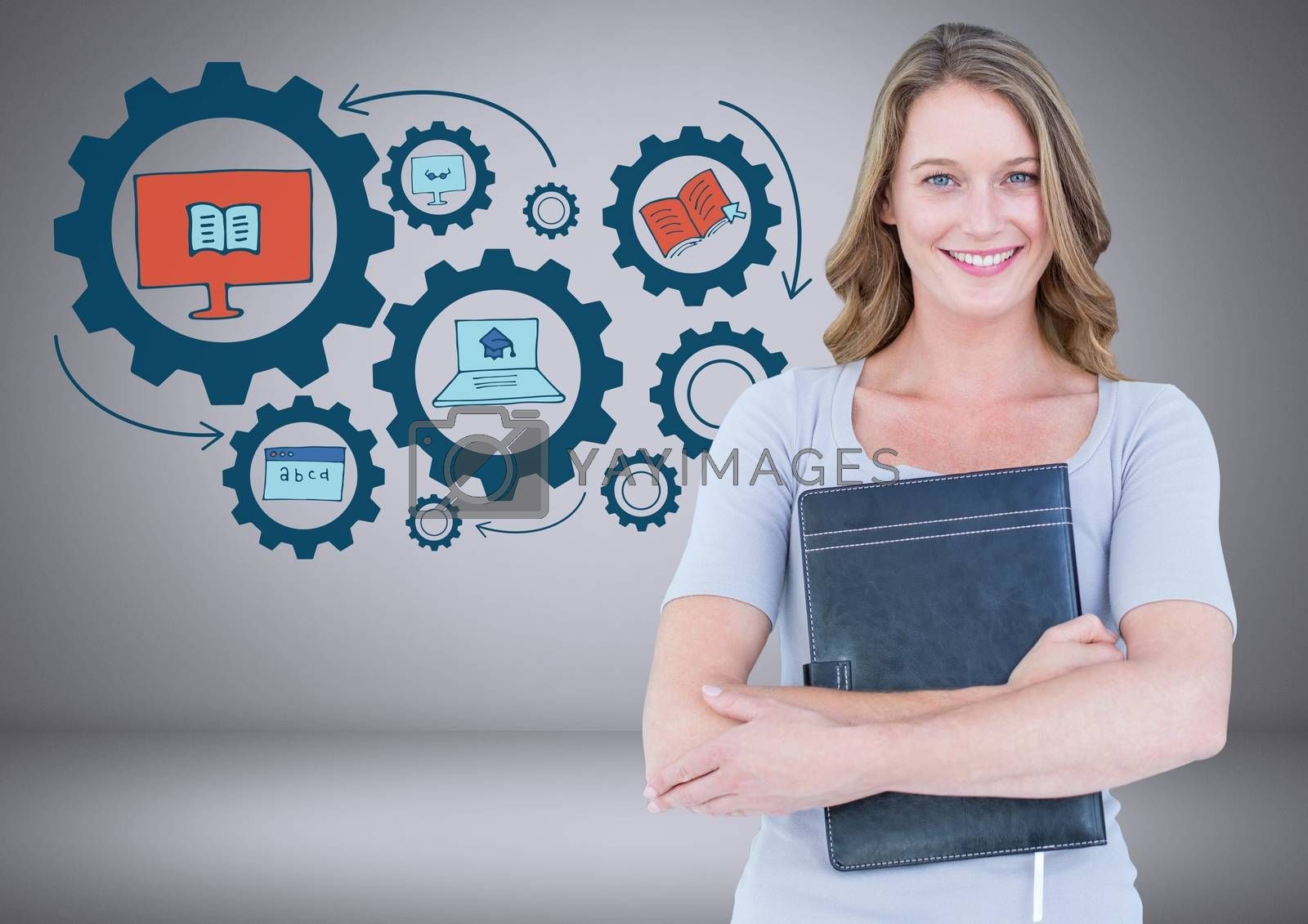 Digital composite of Woman with education graphics drawings