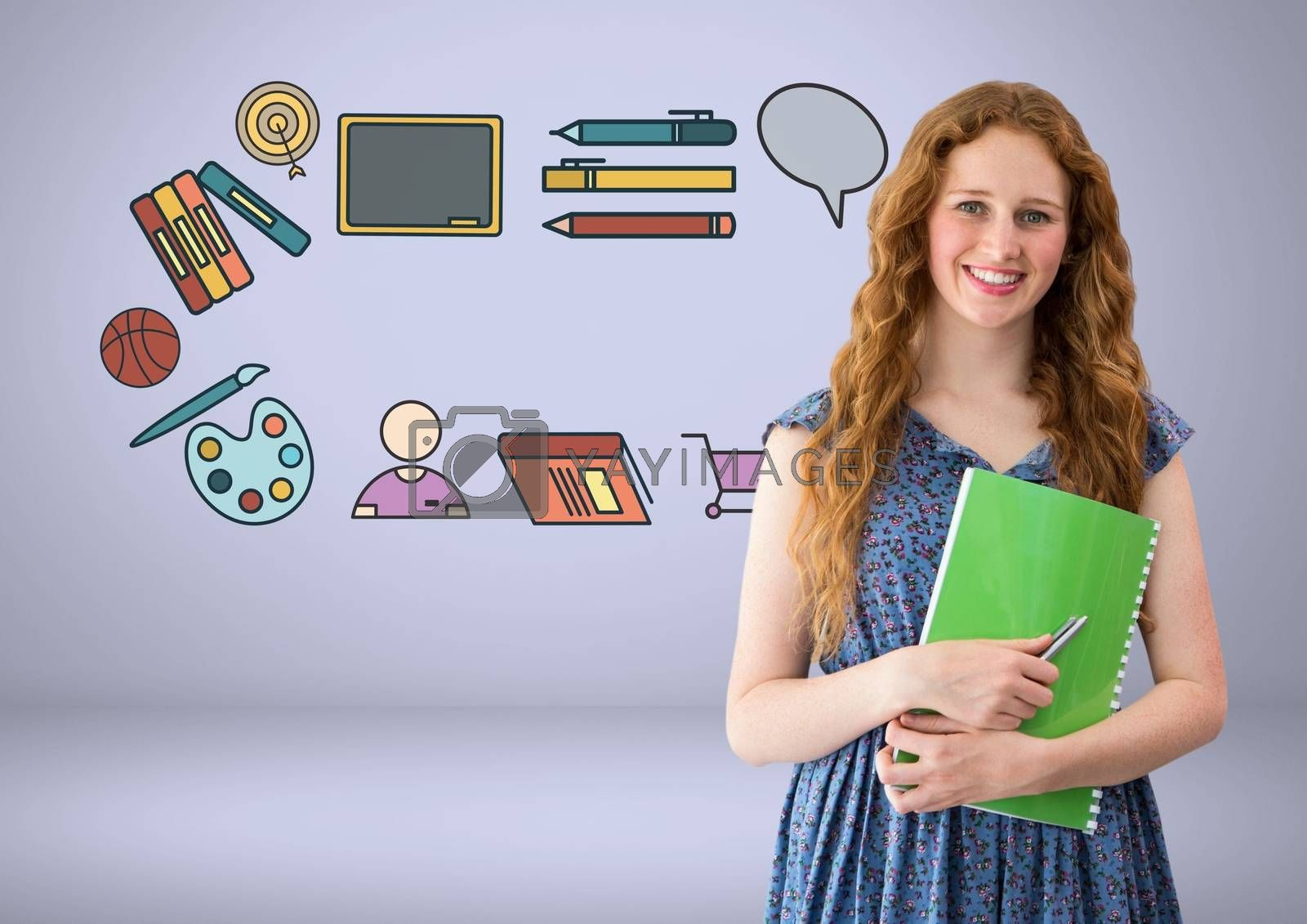 Digital composite of Student with education graphic drawings