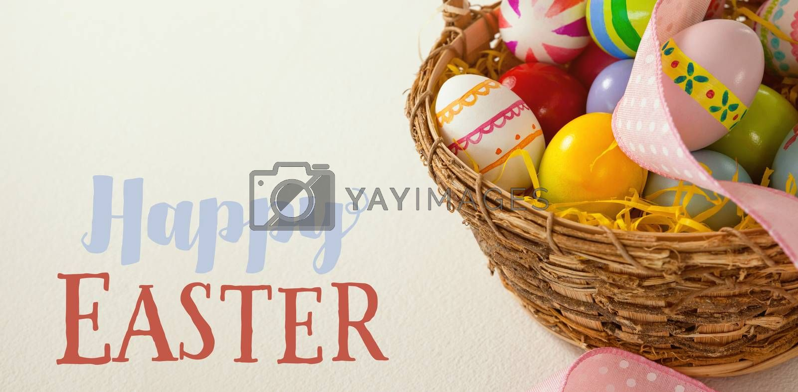 Easter greeting against various easter eggs with ribbon in wicker basket