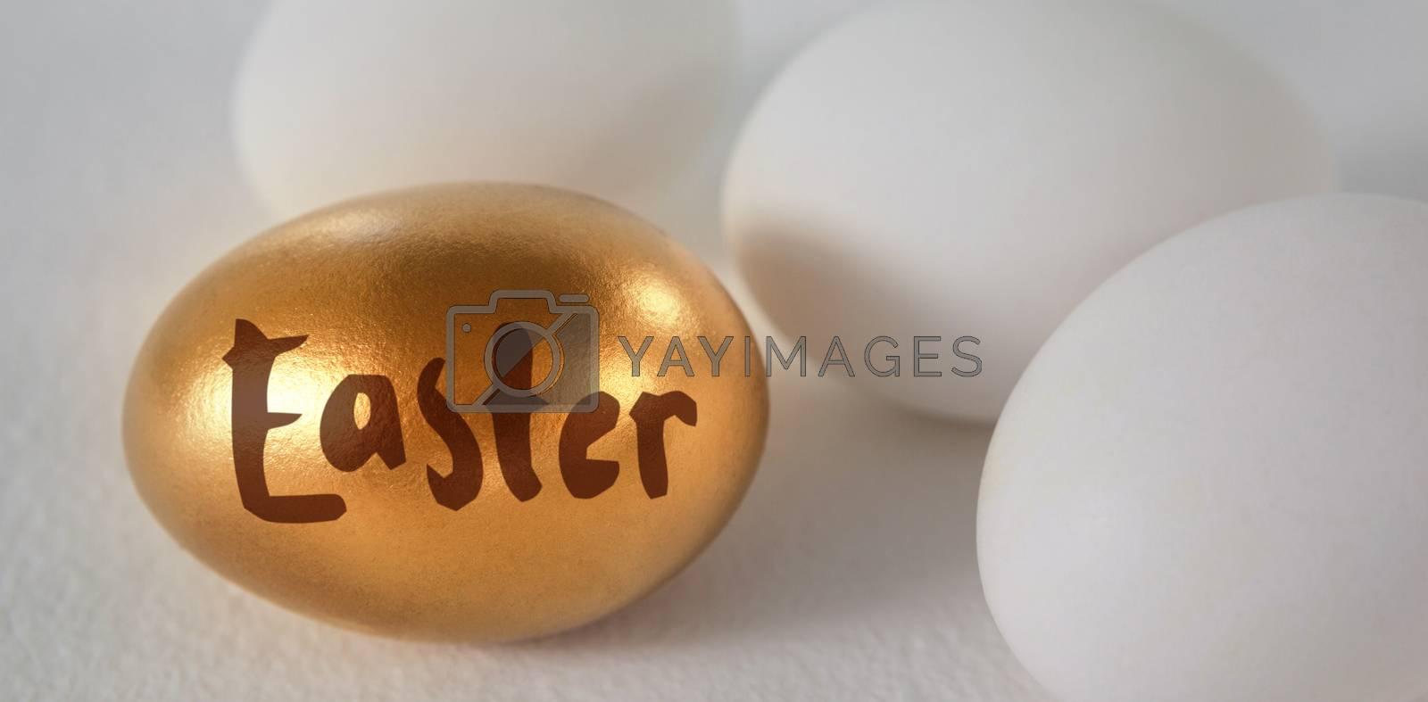Easter greeting against white and golden easter eggs