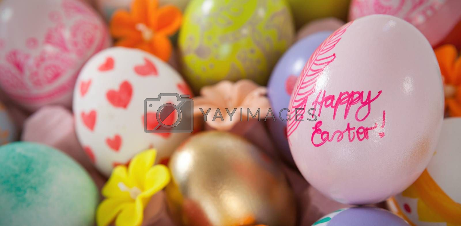 Close-up of painted easter eggs with different designs