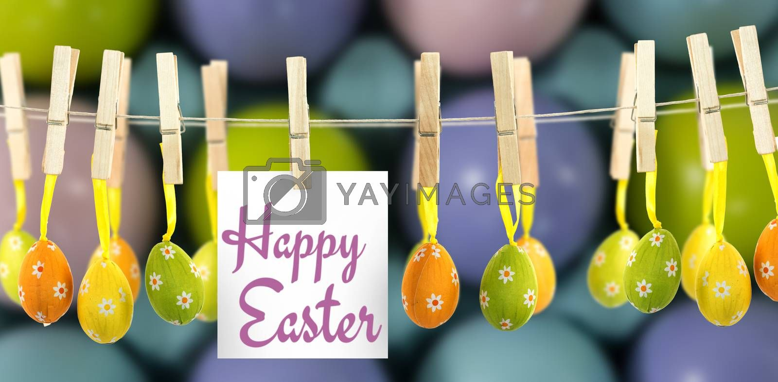 Happy easter logo against multicolored easter eggs in carton