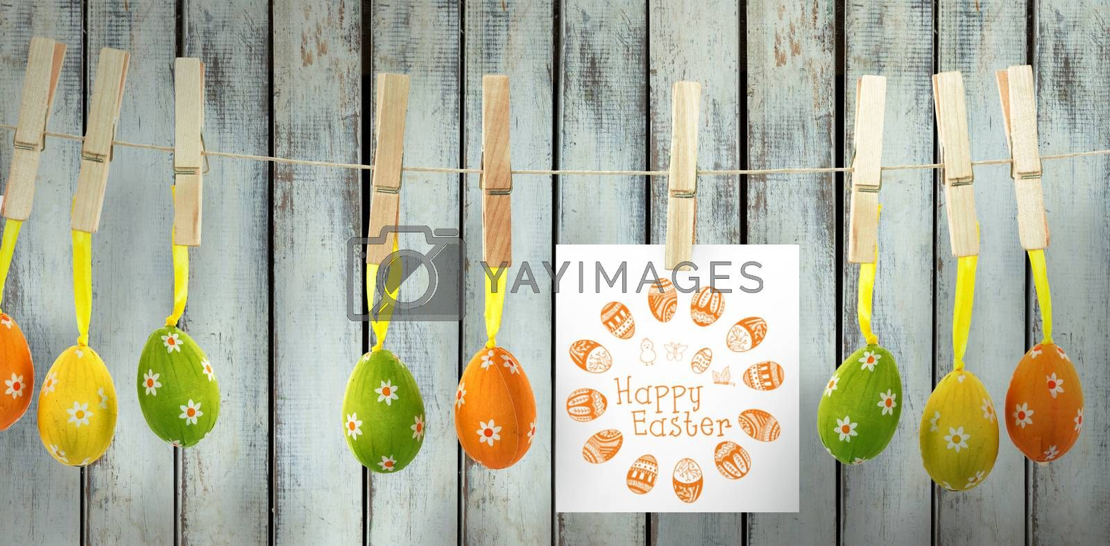 Happy easter logo against wood background