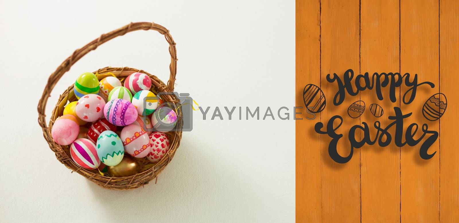 Happy Easter greeting against wooden planks