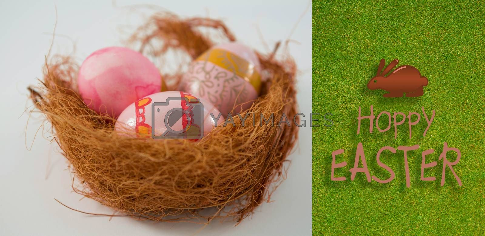 Happy Easter greeting against green background