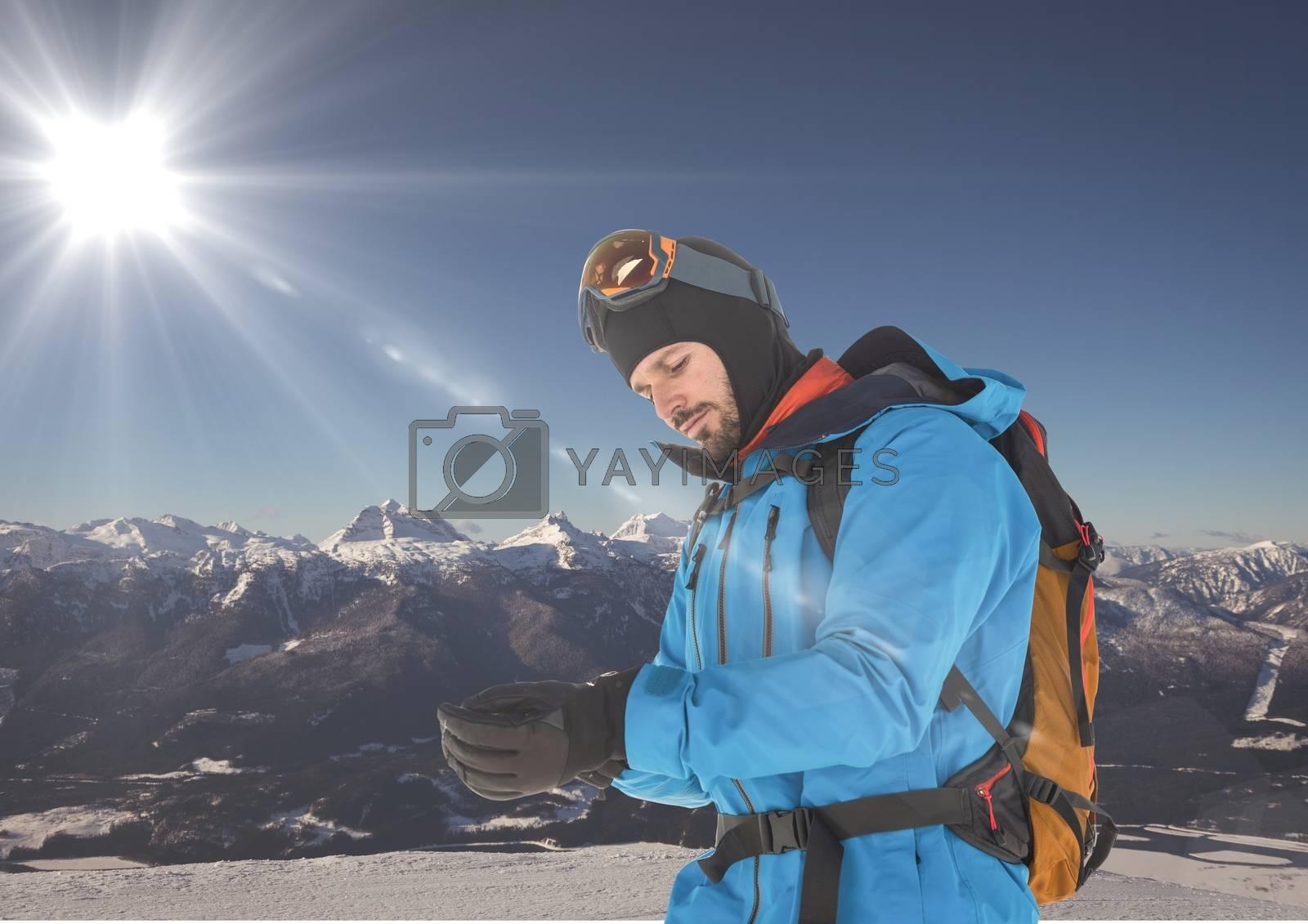 travel mountain. men in the snow by Wavebreakmedia