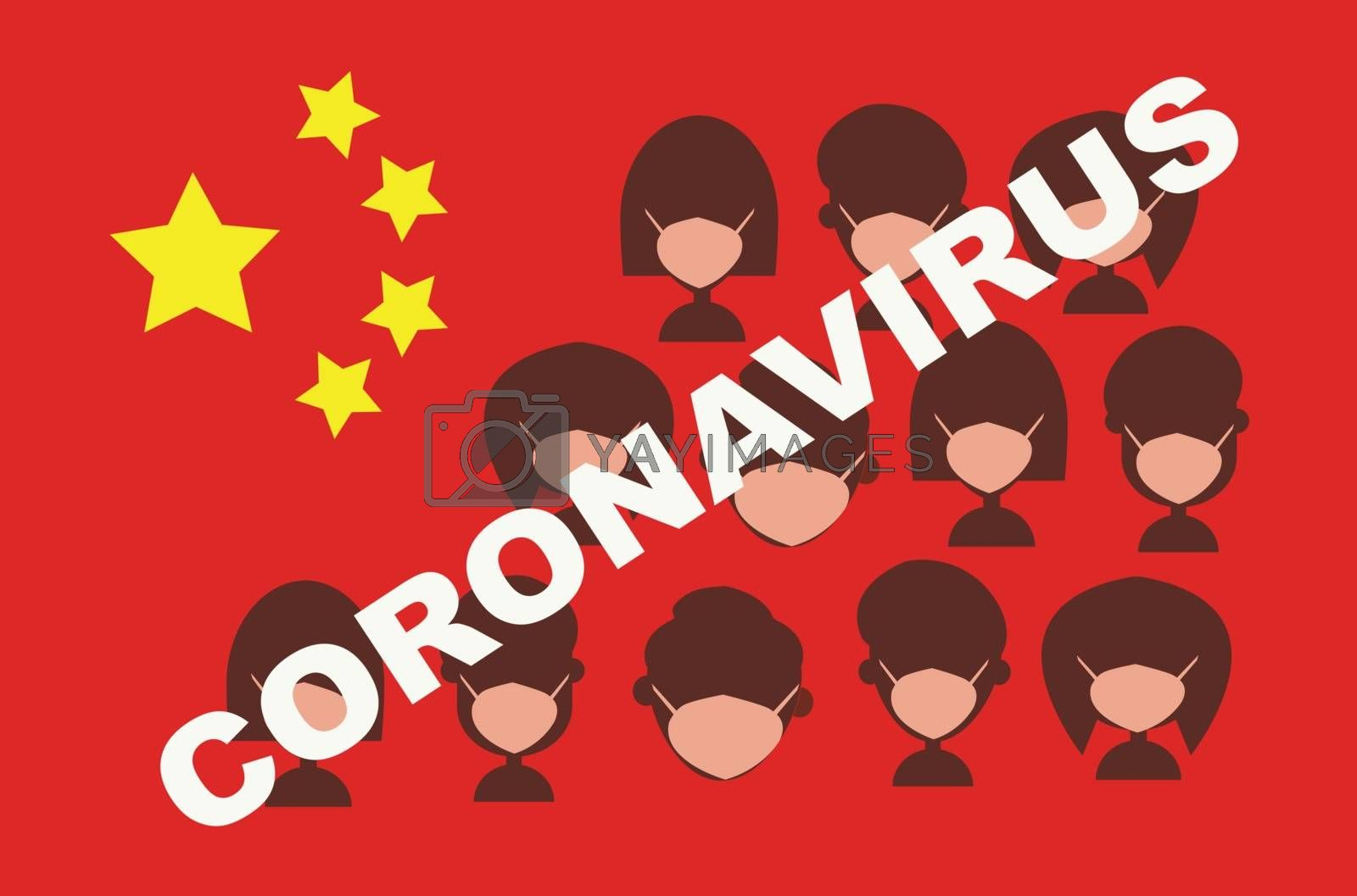 Coronavirus in China. Novel coronavirus (2019-nCoV). Concept of coronavirus quarantine. Silhouette of Group people wearing medical masks flag of China background.