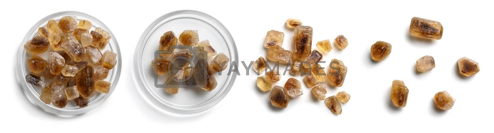 Set of caramel sugar on a white background.