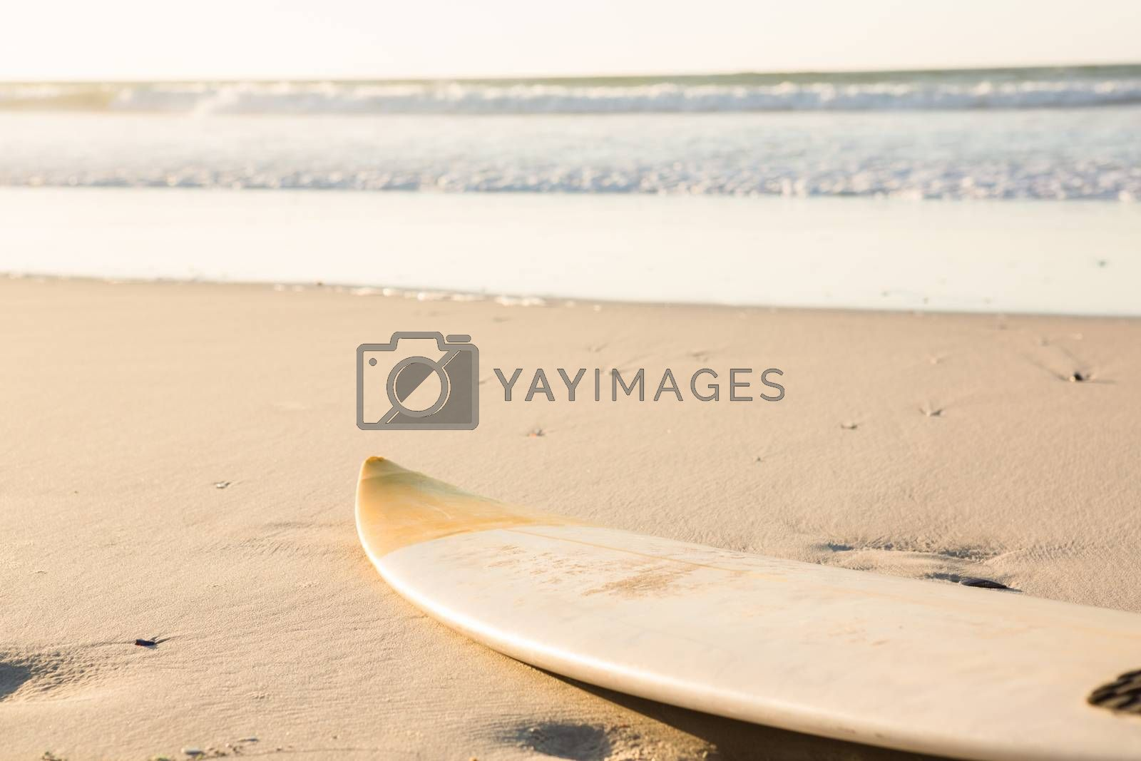 Surfboard on shore at beach during sunny day