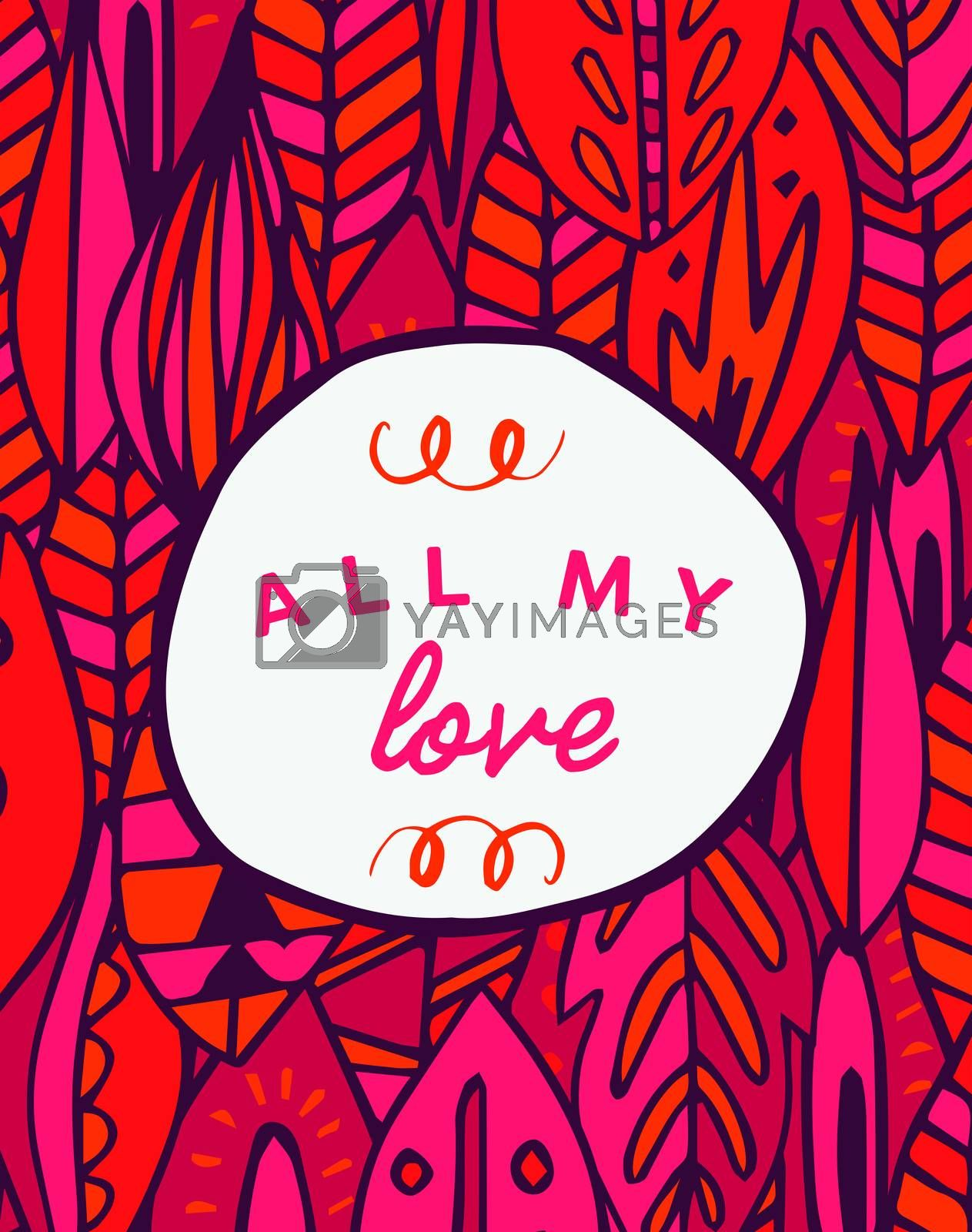 Vector of mothers day card with all my love message