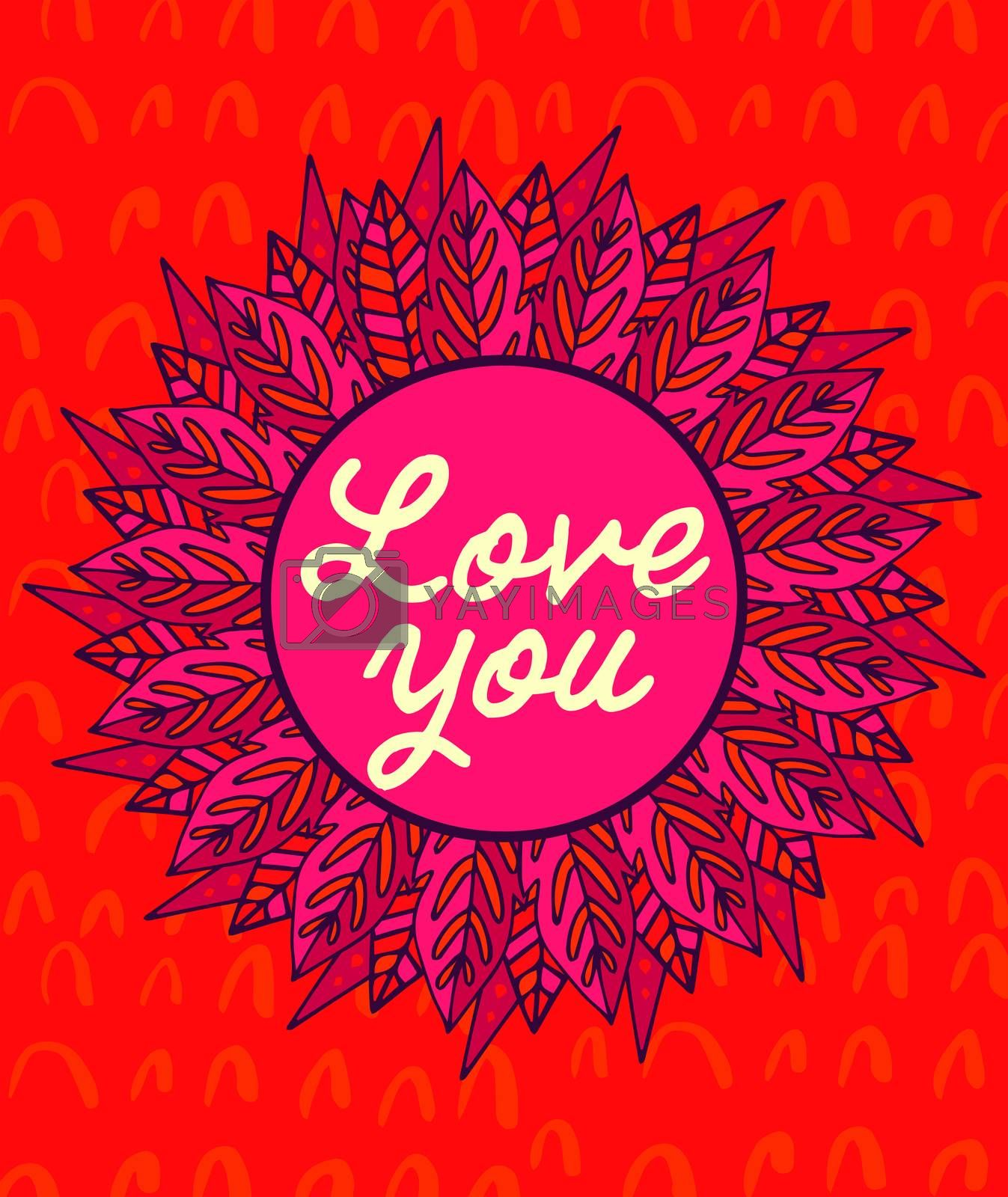 Vector of mothers day card with love you message