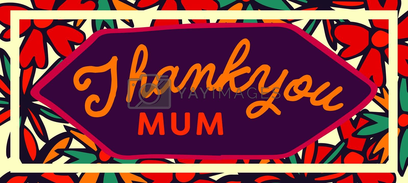 Vector of mothers day card with thank you mum message