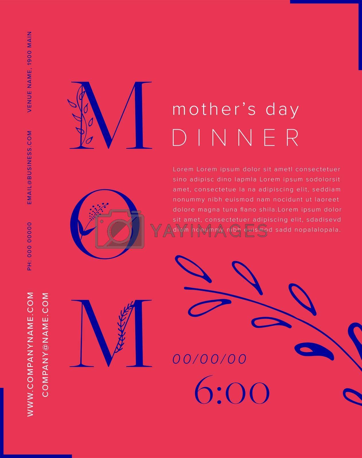Vector of mothers day card with message