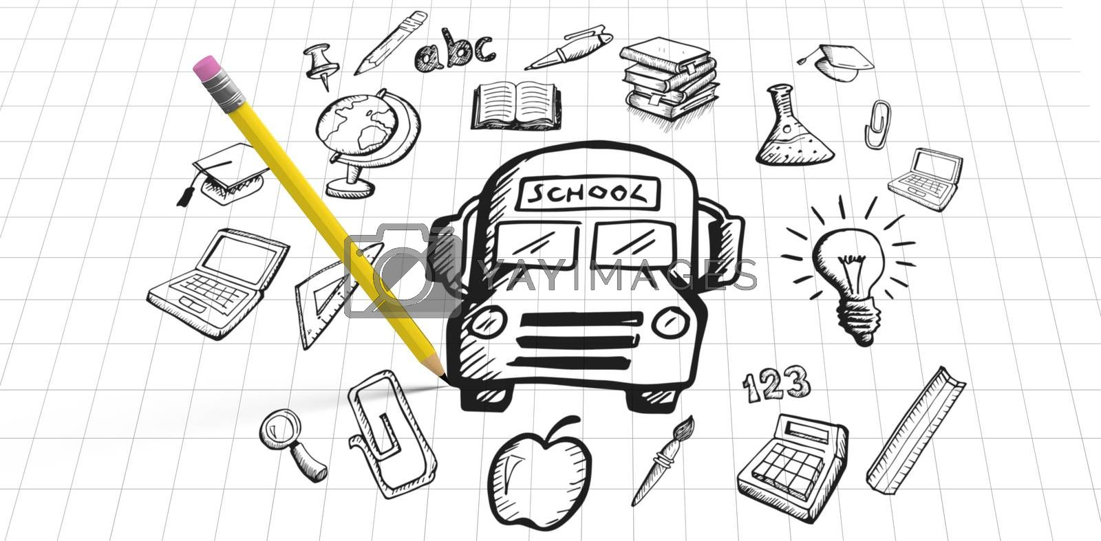 Computer graphic image of pencil against education doodles