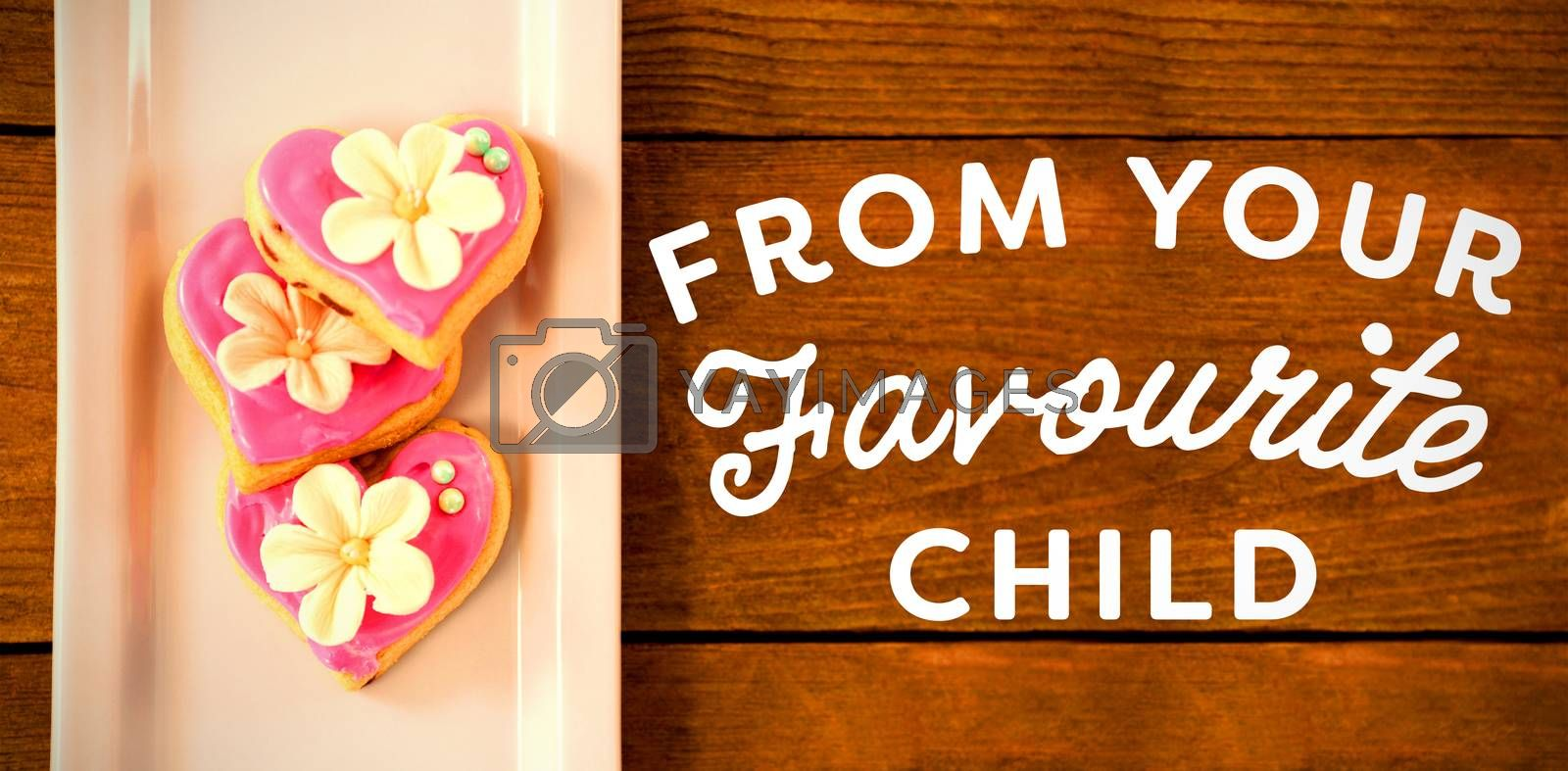 Happy mothers day message on table with cookies