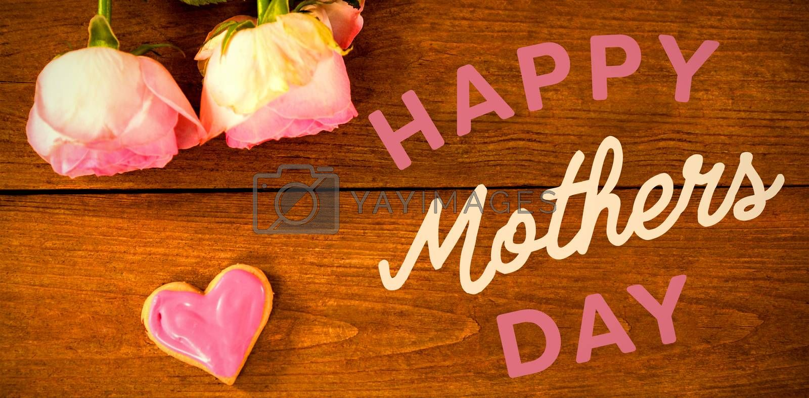 Happy mothers day message on table with roses