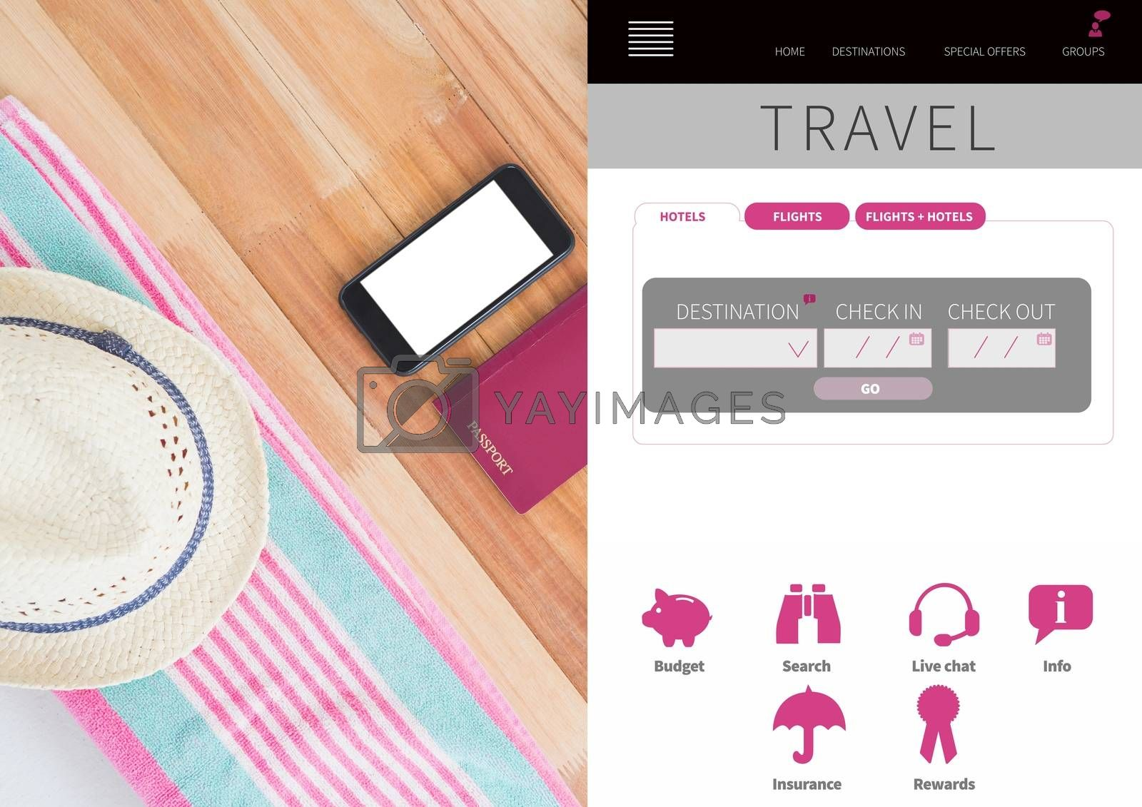 Digital composite of Travel Holiday break App Interface