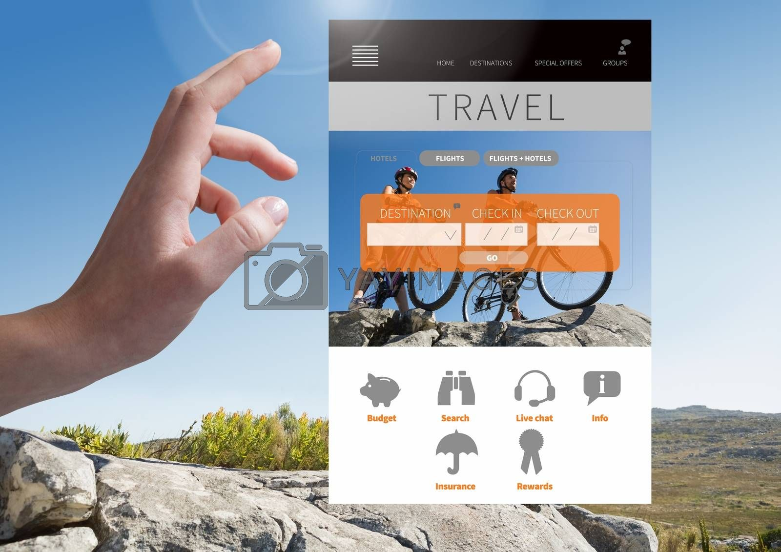 Digital composite of Hand Touching Travel App Interface