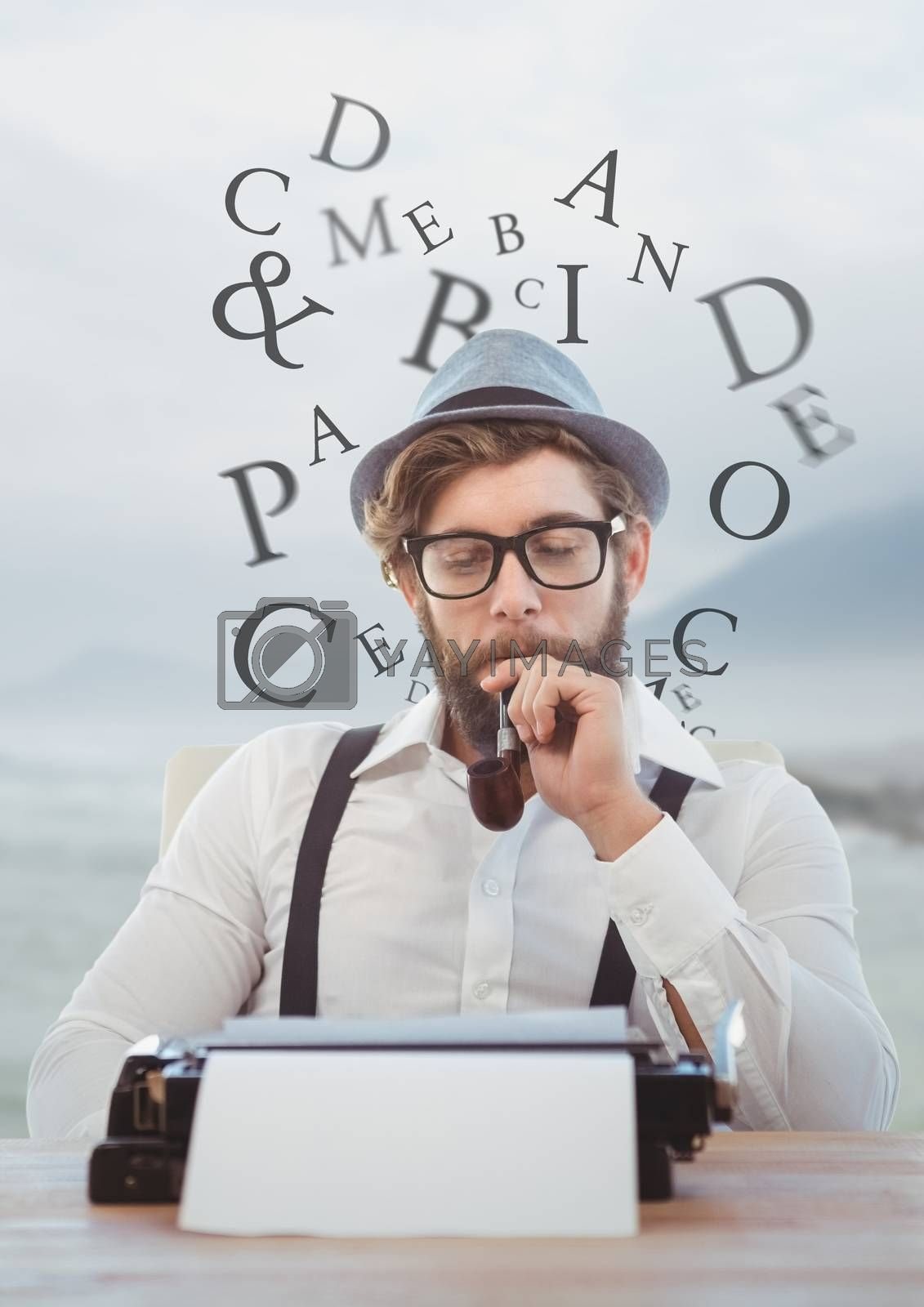 Digital composite of Hipster man  on typewriter with letters and blue mountain landscape