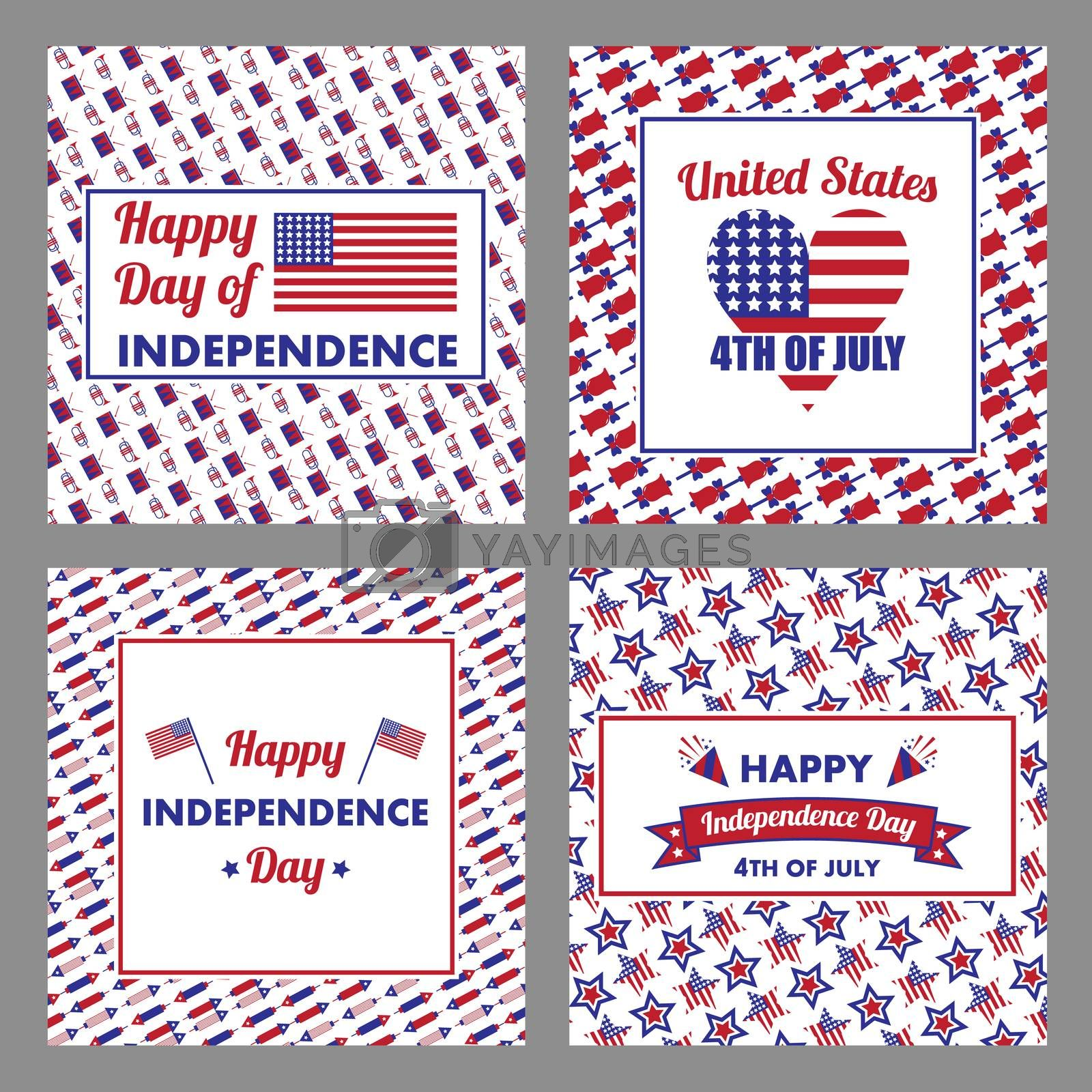 Vector set of 4th July with happy independence day text