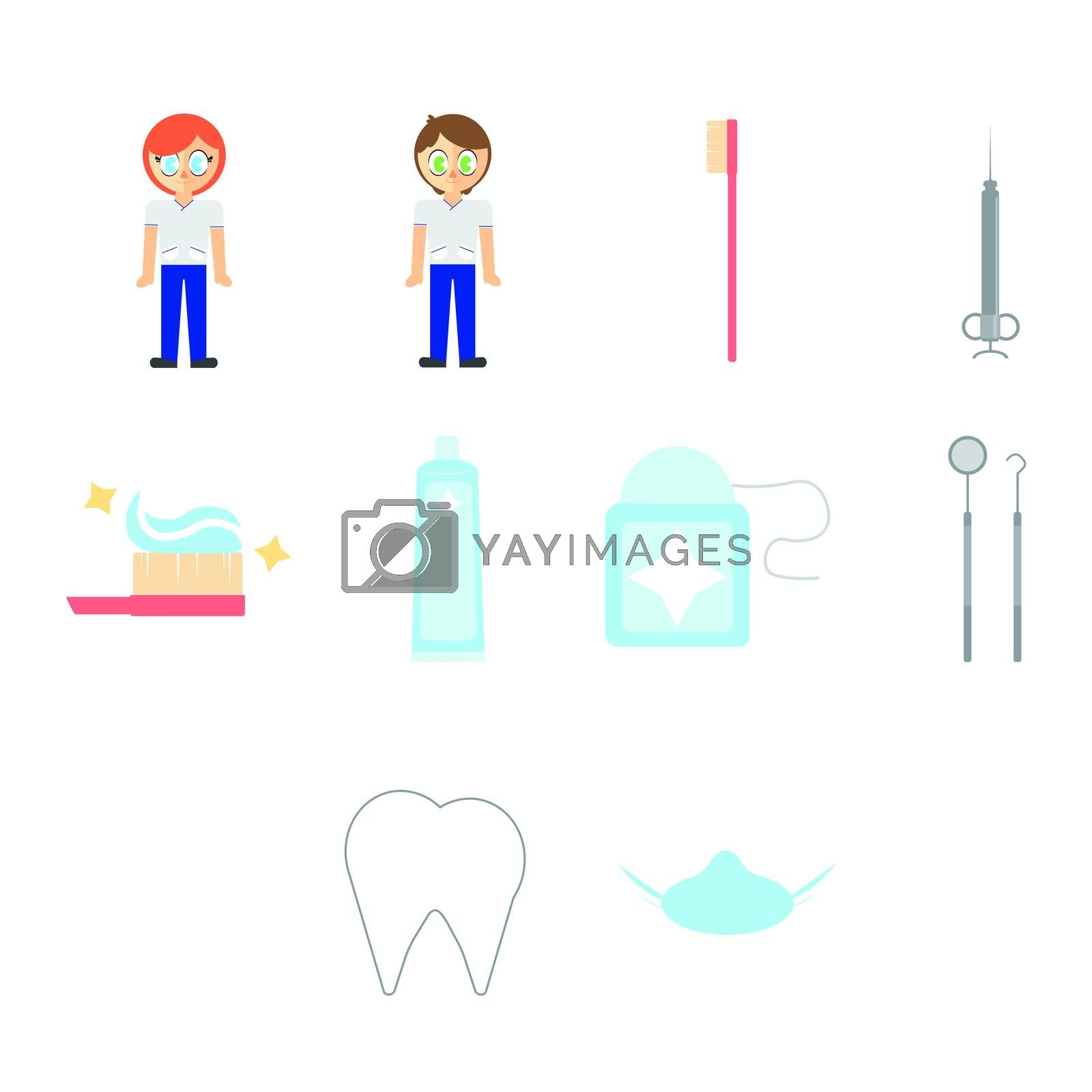Vector set of dentist and dental equipments against white background